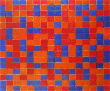Piet Mondrian - Gitterkomposition, Damenbrett in dunklen Farben