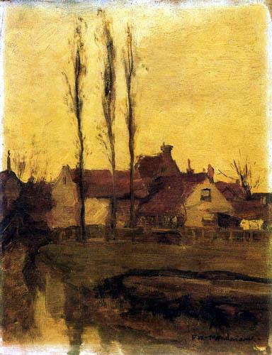 Piet (Pieter Cornelis) Mondrian (Mondriaan) - Houses with poplars