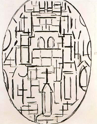 Piet Mondrian - Kirchenfassade I, Kirche in Domburg