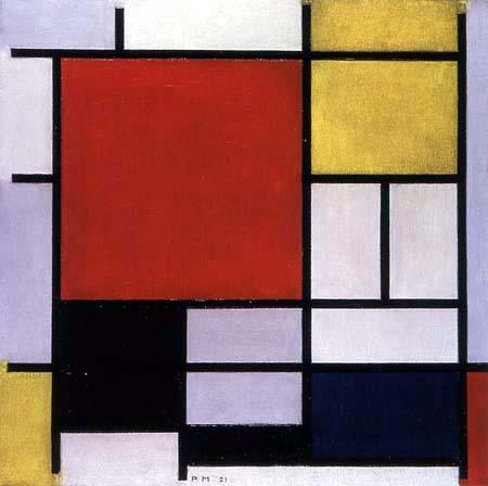 Piet (Pieter Cornelis) Mondrian (Mondriaan) - Composición con gran cuadro rojo, amarillo, negro, gris y azul