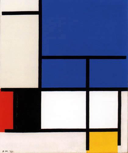 Piet Mondrian - Komposition mit großen Flächen in Blau, Rot, Schwarz, Gelb und Grau