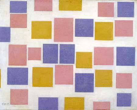 Piet Mondrian - Komposition Nr 3 mit Farbflächen