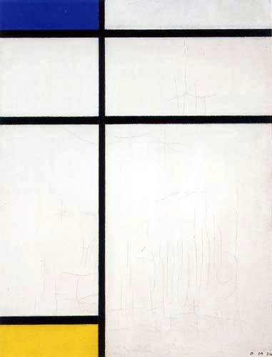 Piet Mondrian - Komposition B in Blau, Gelb und Weiss