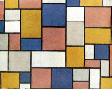 Piet Mondrian - Komposition, Farbflächen mit grauen Konturen