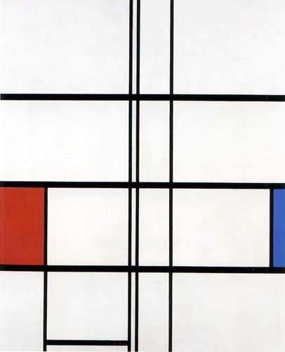 Piet (Pieter Cornelis) Mondrian (Mondriaan) - Composición en blanco, rojo y azul