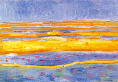 Piet Mondrian - Meerlandschaft mit Sonnenuntergang