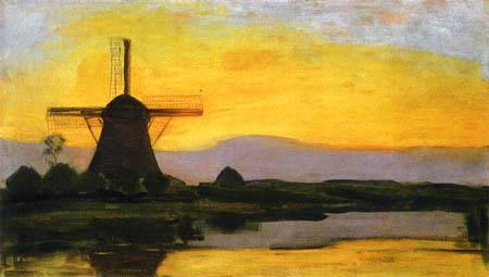 Piet Mondrian - Mühle am Abend