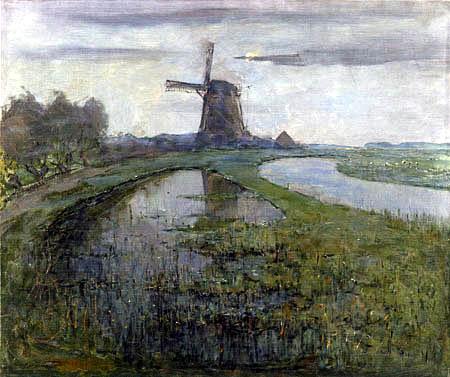 Piet Mondrian - Oostzijdse Mühle am Gein im Mondlicht
