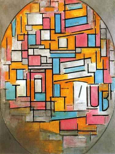 Piet Mondrian - Oval mit zwei Farbebenen