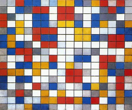 Piet (Pieter Cornelis) Mondrian (Mondriaan) - Raster Composition 9, chessboard in light colors