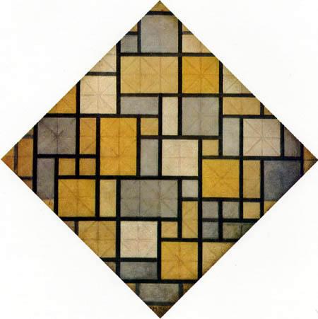 Piet Mondrian - Raute, Helle Farbflächen mit grauen Linien