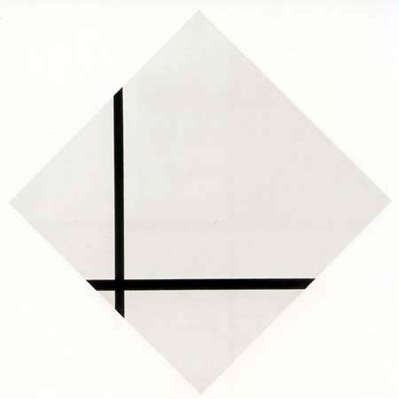 Piet Mondrian - Rautenkomposition mit zwei Linien