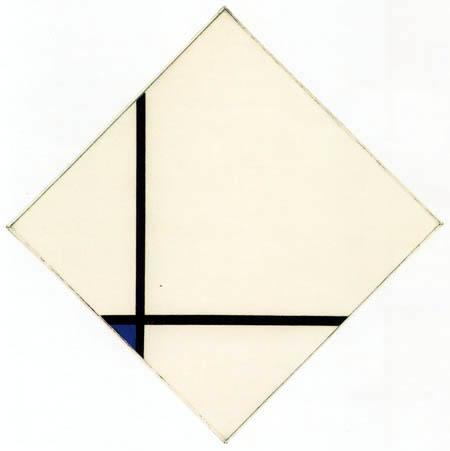 Piet Mondrian - Schilderij I, Raute mit zwei Linien und Blau