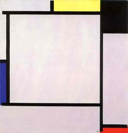 Piet Mondrian - Tableau II mit Gelb, Schwarz, Blau, Rot und Grau
