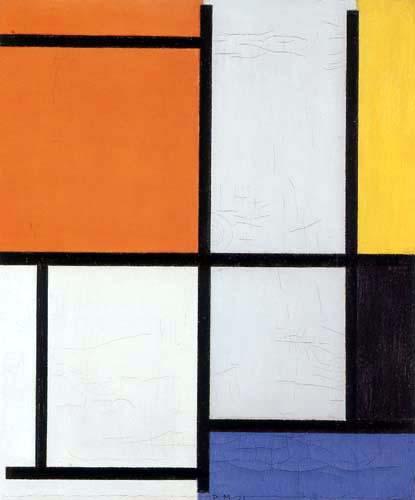 Piet Mondrian - Tableau III mit Orangerot, Gelb, Schwarz, Blau und Grau