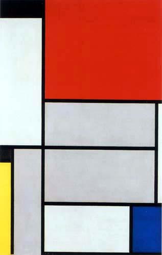 Piet Mondrian - Tableau I mit Schwarz, Rot, Gelb und Blau