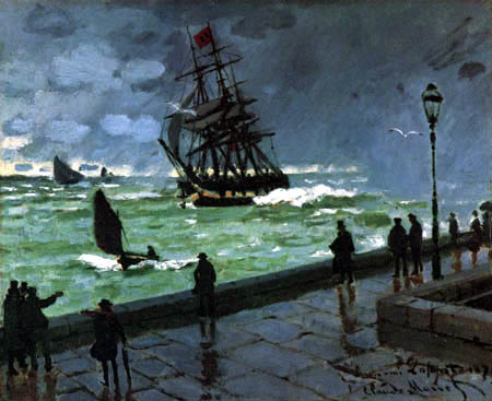 Claude Oscar Monet - The mole of Le Havre at storm