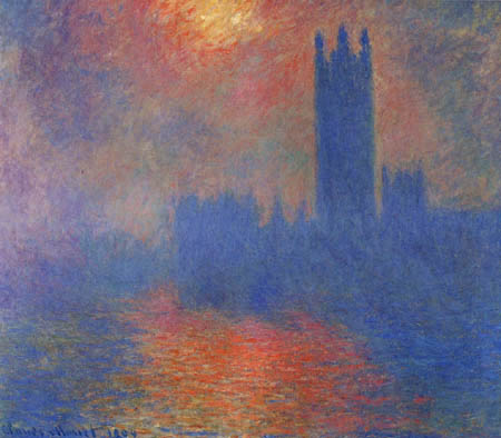 Claude Oscar Monet - The Parliament in London, Sun in the Fog