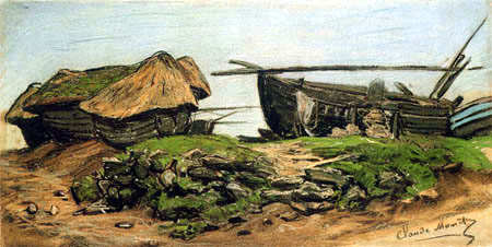Claude Oscar Monet - Boats on low tide, Grandcamps