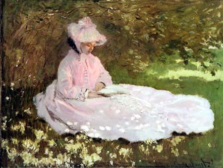 Claude Oscar Monet - Lesende auf einer Blumenwiese