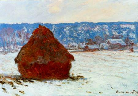Claude Oscar Monet - Getreidehaufen im Schnee