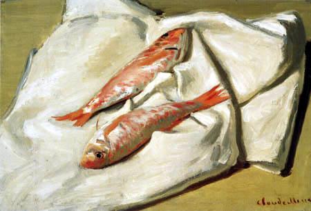 Claude Oscar Monet - Stillleben mit zwei Fischen, Rote Meeräschen