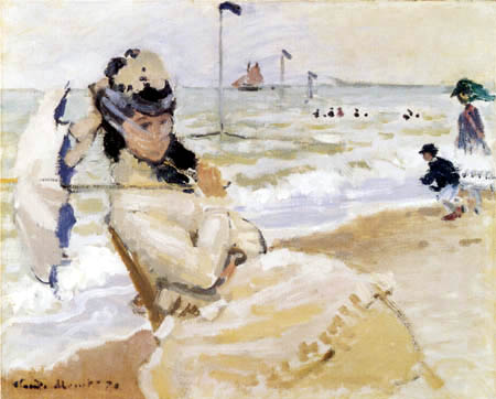 Claude Oscar Monet - Camille on the beach near Trouville