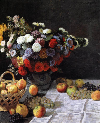 Claude Oscar Monet - Still life with flowers and fruits