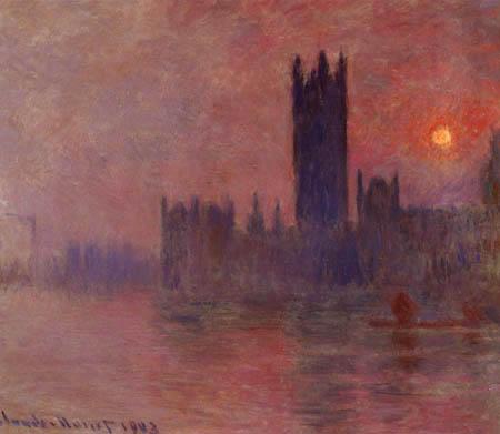 Claude Oscar Monet - Das Londoner Parlament bei Sonnenuntergang
