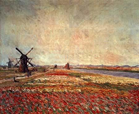 Claude Oscar Monet - Blumenfelder und Windmühlen bei Leiden