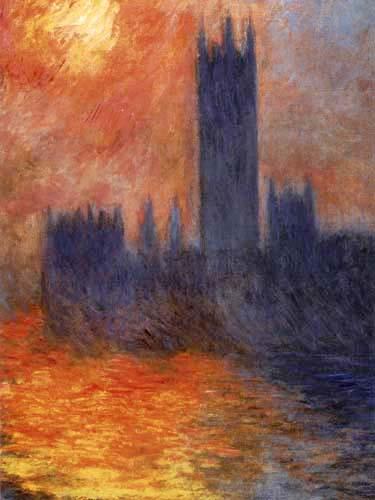 Claude Oscar Monet - Das Parlament, Sonnenspiegelung