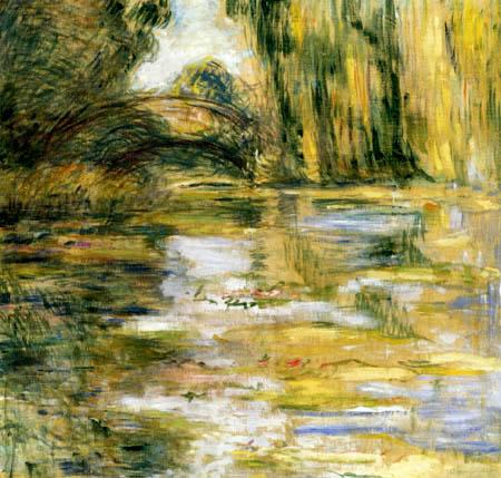Claude Oscar Monet - Der Seerosenteich, Die Brücke in gelb
