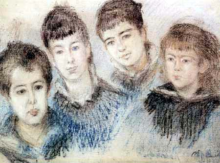 Claude Oscar Monet - Die vier Kinder der Familie Hoschedé
