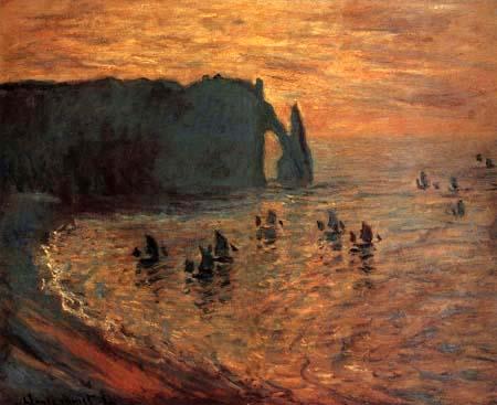 Claude Oscar Monet - Felsen in Étretat, morgens