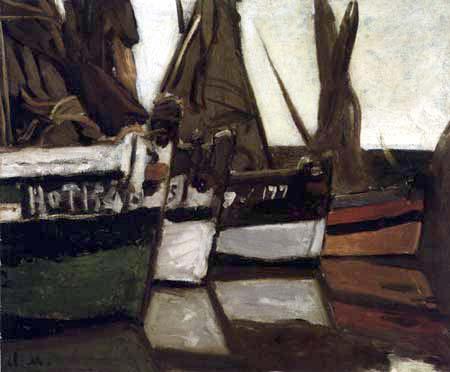 Claude Oscar Monet - Fischerboote im Hafen von Honfleur