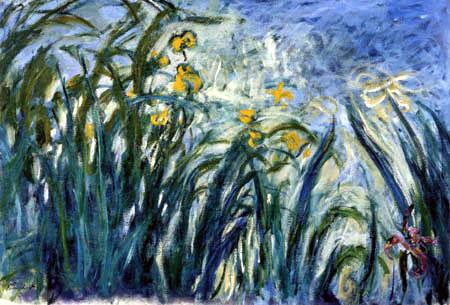Claude Oscar Monet - Gelbe Iris am Seerosenteich