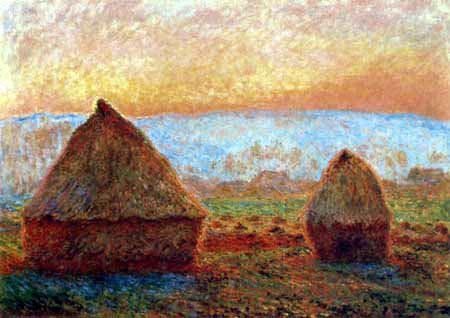 Claude Oscar Monet - Heuhaufen in untergehender Sonne