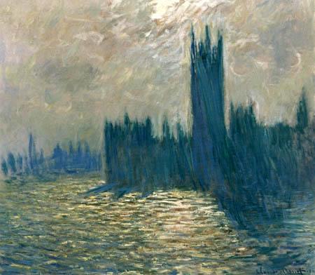 Claude Oscar Monet - Parlamentsgebäude, Themse relfektiert