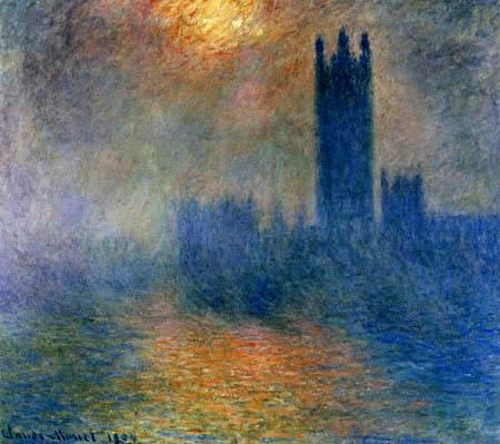 Claude Oscar Monet - Parlamentsgebäude, Sonne und Nebel