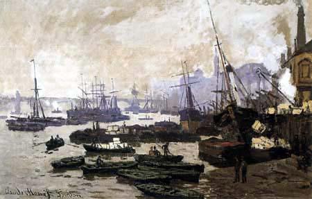 Claude Oscar Monet - Schiffe im Londoner Hafen