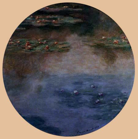 Claude Oscar Monet - Seerosen rose und blau rund