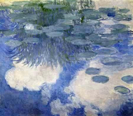 Claude Oscar Monet - Seerosen hellblaue und weiße Spiegelungen
