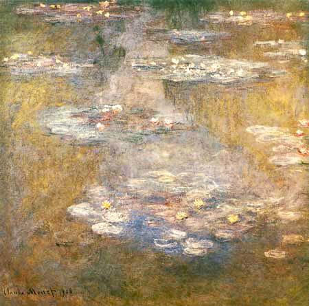 Claude Oscar Monet - Seerosen, bräunliche Spiegelungen
