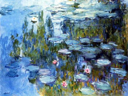 Claude Oscar Monet - Drei rote und eine weisse Seerose