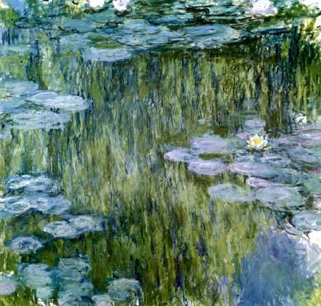 Claude Oscar Monet - Seerosen mit Spiegelungen, Giverny