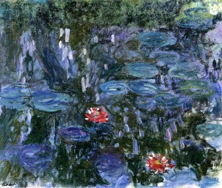 Claude Oscar Monet - Seerosen, zwei rote Blüten