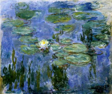 Claude Oscar Monet - Seerosen, eine weisse Blüte