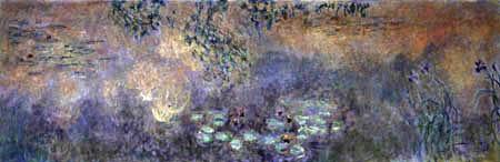 Claude Oscar Monet - Der Seerosenteich, Iris am Ufer
