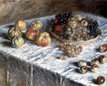 Claude Oscar Monet - Stilleben mit Äpfeln und Trauben