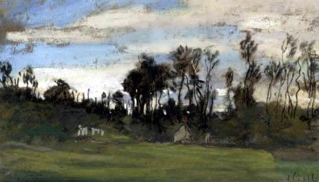 Claude Oscar Monet - Wiese und Bäume